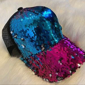 C.C Brand Reversible Sequins Messy Bun Hat